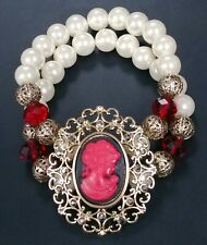 Cameo Bracelet Filigree Double Strand Faux Pearl Bead Crystal Stretch Victorian