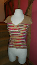 Size 6  Cap Sleeve Multicoloured Striped V Neck Top in a Wool Blend by Whistles