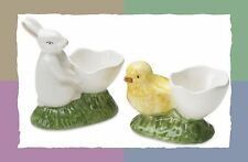 NIB WILLIAMS SONOMA by BORDALLO PINHEIRO SET EGG CUPS W/CHICK AND BUNNY~EASTER!