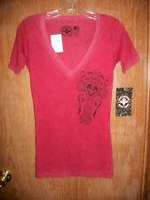 NWT AFFLICTION FADED RED GRAPHIC V-NECK T-SHIRT SIZE SMALL Ret $54.00