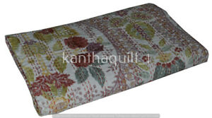 Handmade Cotton Vintage Paisley Queen Kantha Quilt Indian Bedspread