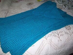 HANDMADE  CROCHETED  AFGHAN TURQUOISE  NEW** LARGE SIZE
