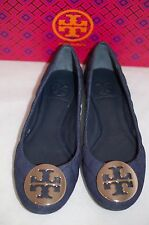 TORY BURCH Denim Navy Gold Quinn Quilted Logo Ballet Flat Shoes 6 US / 36 EU