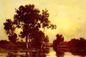 Dream-art Oil painting leon richet - river landscape at dusk hand painted canvas