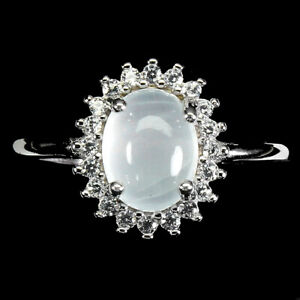 Unheated Oval Aquamarine 8x6mm Cz White Gold Plate 925 Sterling Silver Ring Sz 7