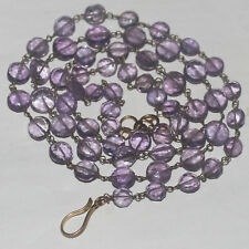 73CARTS  5to7.5MM NATURAL GEMSTONE AMETHYST FACETED COIN BEADS NECKLACE #516