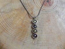 Green & Purple Pearls within Sterling Silver Pendant & Sterling Necklace 16""