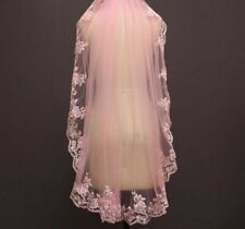 One Layer Pink Lace Short Wedding Veils With Comb Appliqued Lace Edge Bride Veil