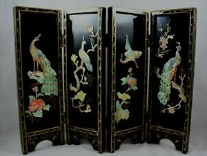 Small 4 Panel Japanese Tea Screen With Peacocks in Mother of Pearl