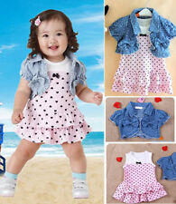 Baby Girl Toddler Kids Jeans Tops + Sleeveless Dress Spotted 2 Piece Outfit Set
