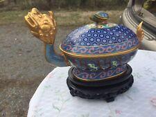 Antique Chinese Cloisonné Covered dish Jar pot vase Dragon Turtle