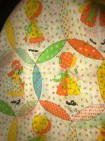 BTY Vintage Sun bonnet Sue Double Wedding Ring Fabric Yellow Orange Blue Green