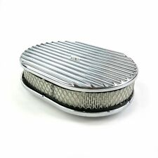 """12"""" OVAL FINNED POLISHED ALUMINUM CLASSIC NOSTALGIA AIR CLEANER FITS CHEVY FORD"""