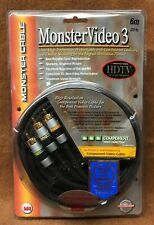 "NOS NEW Monster Cable MV3CV-6M ""VIDEO 3 Series"" Component Video Cable - 6 Meter"