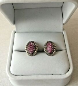 GORGEOUS LAGOS STERLING SILVER &18K PAVE PINK SAPPHIRE EARRINGS