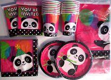 PANDA - MONIUM Birthday Party Supply Kit Set w/ Invitations