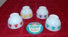 VINTAGE 4 COLORS FIRE KING TULIP COTTAGE CHEESE BOWL & ONE TIN LID