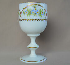 Antique French Victorian Hand Painted White Opaline Wine Water Glass Goblet