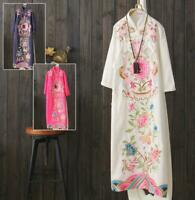 Womens Long Dresses Chinese Style Vintage Cotton Linen Loose Oversize  Lit01