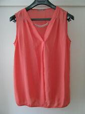 Orsay Damen Tunika Shirt Gr. 36 koralle mit abnehmbarer Zierkette Ärmellos