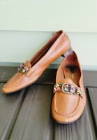 Enzo Angiolini brown leather Rinestone  embellished Loafers, Flat, Shoes, 7 M