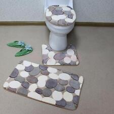 3Pcs Non-Slip Bathroom Pedestal Lid Mat Pad Toilet Rug Set Big Pebbles Print