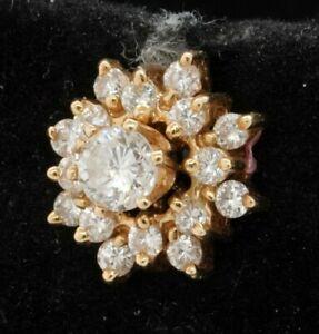 Single 14K gold .65CTW VS diamond stud earring w/ jacket/enhancer