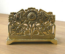 Letter Rack, Flower Design, Italian Cast Brass, Polished Finish