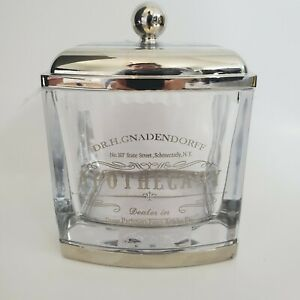 Bella Lux Dr H Gnadendorff Apothecary Silver Q Tip Cotton Ball Jar with Lid~New~