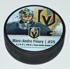 MARC-ANDRE FLEURY Player Photo Vegas Golden Knights SOUVENIR PUCK Sher-wood Back