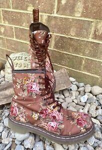 Dr. Martens Doc's 11821 Victorian Floral Roses  Combat Boots Size 9 US