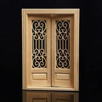 1:12 Dollhouse Miniature Wood Double Door Can Be Painted ss.US S9W6
