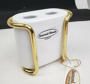 Samuel Heath L82 Porcelain Toothbrush Holder & Stand in Polished Brass