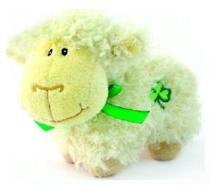 Huggable Friends Shaggy Cream Sheep Soft Toy with Shamrock