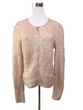 GUESS Womens Casual Elegant Bronze Textured Wool Zip Cardigan Jacket sz M BA40