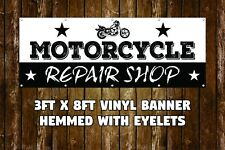 NEW MOTORCYCLE REPAIR SHOP VINYL BANNER 3' X 8' HEMMED WITH EYELETS