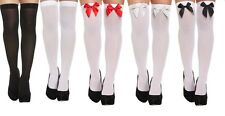 HOLD UP STOCKINGS OPAQUE OVER THE KNEE BLACK WHITE BOW FANCY DRESS TIGHTS NEW