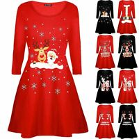 Kids Girls Christmas Santa Reindeer Wall Snowflake Xmas Flared Swing Mini Dress