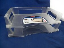 2 Pack Stackable Letter Tray Desk Office Paper Holder Organizer Clear EUC
