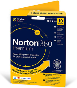 Norton 360 Premium 2020 | 10 Devices | 1 Year Subscription with Automatic | VPN