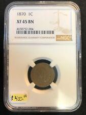 1870 1C  Indian Cent NGC XF 45 Bronze