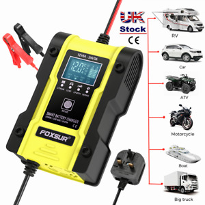 12V/24V Car Motorcycle Battery Charger for Lithium Calcium/Lead-acid Batteries