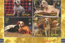 CUTE PUPPY DOGS CANINES SOMALIA 2003 MNH ERROR SHEETLET - TOP BORDER MISSING