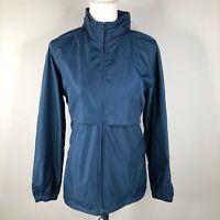 Vintage Woolrich Womens M Navy Blue Full Zip Raincoat Rain Jacket Vented Hooded