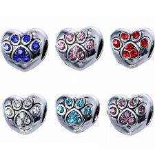 10pcs Mixed Silver Crystal Footprints Spacer BEADS Fit European Charm Bracelet