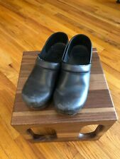 DANSKO Navy Blue Leather Brown Heal Clogs Shoes EURO 39