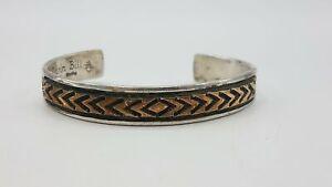 """Darin Bill Navajo Sterling Silver Gold-filled Engraved 7.5"""" Cuff TT826"""
