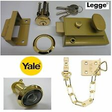 Legge 60mm oro Nightlatch Pestillo Reversible Cilindro & Yale y Cadena de Latón espía