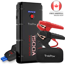 Car Jump Starter, Trekpow G22 1500A Peak 12V Auto Upgraded Battery Booster Pa...