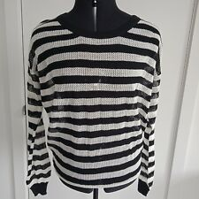 Pippa Lynn Women's Sweater Pullover Light Weight Black White Stripes Size S